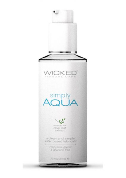 Wicked Sensual Care Simply Aqua Water Based With Olive Leaf Extract 2.3 Ounce Bottle