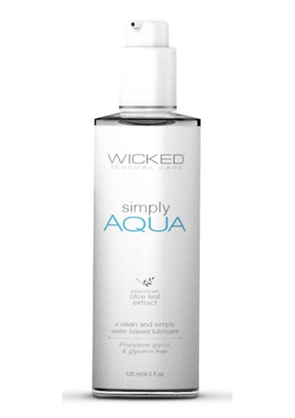 Wicked Sensual Care Simply Aqua Water Based With Olive Leaf Extract 4 Ounce Bottle