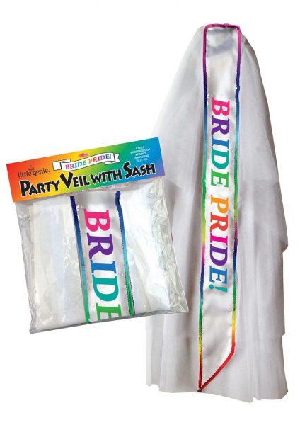 Bride Pride Party Viel With Sash White