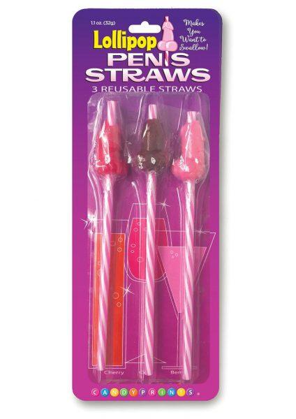 Candy Prints Lollipop Penis Straws 3 Flavors Per Pack