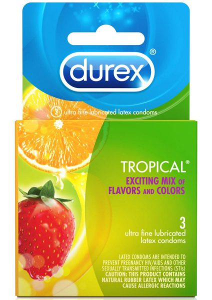 Durex Condoms Tropical Assorted Flavors And Colors 3 Each Per Box.